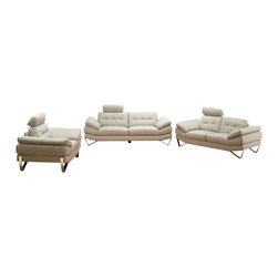 ESF - ESF Dallas Full Light Grey Top Grain Italian Leather 3 Piece Sofa Set - The ESF Dallas sofa set is a great addition for any living room that needs a touch of modern design. This sofa set comes fully upholstered in a beautiful light grey top grain Italian leather. High density foam is placed within the cushions for added comfort. The armrests on each piece have an angles design that adds to the overall look of the sofa set. Only solid wood products were used when crafting the frame making the sofa a very durable piece.