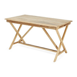 Cobble Hill Urban Trestle Desk - This weathered trestle desk made from reclaimed pine has great, no-fuss lines and a light beachy tone. It's perfect for the California coast.