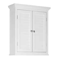 Elegant Home Fashions - Elegant Home Fashions Slone Wall Cabinet 2 Shutter Doors - White - ELG-583 - Shop for Bathroom Cabinets from Hayneedle.com! The Elegant Home Fashions Slone Wall Cabinet 2 Shutter Doors White features an elegant crown molded top piece with decorative louvered doors and chrome finished knobs for easy opening. This wall-mounted cabinet is crafted from durable engineered wood and installs easily up and off the ground saving you much needed floor space in your bathroom. It also boasts a magnetic seal to keep doors shut and a spacious interior with adjustable shelf so you can customize the way you organize.About Elite Home FashionsProviding affordable extravagance Elite Home Fashions has been the nation's foremost manufacturer of bathroom accent furniture and bathroom accessories in the United States. Their customers include some of America's finest and most prestigious retailers department stores and discount retail chains. Elite Home Fashions has traveled the globe to give consumers the best quality and design for their bathroom decor.