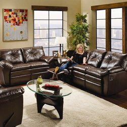 Simmons Upholstery - Groton Bonded Leather Dual Reclining Sofa and Loveseat Set - Includes Sofa and Loveseat