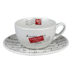Konitz - S/2 Amore Mio Mugs & Saucers - This lovely saucer conveys a special note, and even if you don't know Italian, it reminds you how endearing a handwritten letter can be. And once you see what's written on this adoring cup, you'll want to seal it with a kiss.