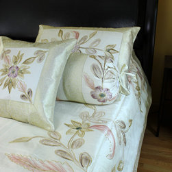 Luxurious & Decorative Bedding Sets - Stunning 7-piece bedding set. Uniquely painted by hand in India. Beige color. Soft, luxurious Dupion silk fabric.