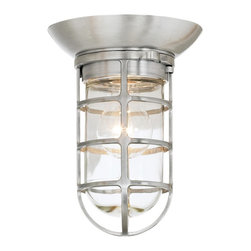 """Troy - Retro Industrial Outdoor Ceiling Light - A sleek industrial look characterizes this ceiling light. The piece is suitable for both indoor or outdoor use and features a crisp satin aluminum finish. The industrial look is reinforced by the clear glass cover which is surrounded by a protective cage. From Troy's Classic RLM series. Takes one 100 watt medium bulb (not included). 9"""" high. 6 5/8"""" wide.  Satin aluminum finish.  Takes one 100 watt medium bulb (not included).   9"""" high.   6 5/8"""" wide.   U.L. listed for wet location."""