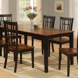 "East West Furniture - Nicoli 7Pc Set with Rectangular Dining Table and 6 Wood Seat Chairs - Nicoli 7Pc Set with Rectangular Dining Table Featured 12"" Butterfly Leaf and 6 Wood Seat Chairs.; Rectangular dining table offers a touch of luxury and traditional styling with a modern flair.; Dinette sets are manufactured of pure Asian solid wood for durability and superb stability.; Table and chairs are available in a polished Black & Cherry color, as well as a crisp Buttermilk & Cherry option.; Sturdy chairs are designed with a simple geometric back that adds an element of class to any dining room.; Table features an easy-to-use butterfly leaf with additional storage for superior convenience.; Chairs are available with plush upholstered seat or with solid wooden seat to cater to any preference.; Weight: 191 lbs; Dimensions: Table: 54-66""L x 36""W x 30""H; Chair: 18""L x 18""W x 39""H"