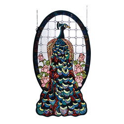 Meyda - 20 Inch W X 38 Inch H Peacock Profile Window Windows - Color Theme: Zasdy Oafl Purple/Blue Lt Blue