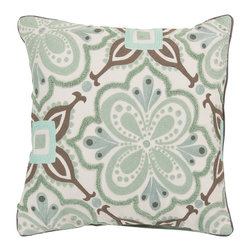 Surya - Square Cotton Pillow KS-012 - Build a bold, bright look, sure to be the crowning jewel of your space, with this pillow from the Kate Spain collection. Featuring a flower image outlined by diverse patterns in blue and brown coloring, this piece will inject a shot of stylized color and design into any room. This pillow contains a zipper closure and provides a reliable and affordable solution to updating your home's decor.