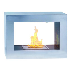 PureFlame - Silver Window Modern Freestanding Ethanol Fireplace - Silver Window, an ethanol fireplace by PureFlame, is sure to improve the warmth and aesthetic of any modern space. This two-sided, clean-burning fireplace is portable and appropriate for both indoors and out! This fireplace offers an eco-friendly flame that is odorless. Bio Ethanol, an alternative fuel source produced from plants, only emits water vapor and carbon dioxide into the air. Although ethanol fireplaces aren't intended for use as a primary heat source, the Silver Window model produces enough heat that it will change the noticeable temperature in a small space. Enhancing its appeal, Silver Window lends a light and airy feeling with its open construction. Appropriate for any modern or contemporary living space, the Silver Window model is offered in 304-grade brushed stainless steel.