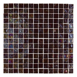 Exotic Glass GL013 Root Beer Square - A glamorous and fun surfacing option! The unique shapes and iridescent surface of the Glamour series brighten up any space. Tile is available in square, rectangle, round, or oval shapes. Mesh-back mounted for easy installation. Tile size varies depending on shape. Sq. ft. per sheet: approx. 1.0