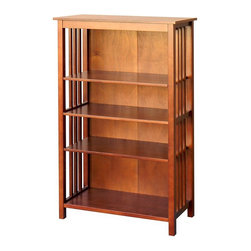 DonnieAnn - Wooden 50 in. Bookcase - Frame/Leg Material: Poplar. Tabletop Material: Wood Composite, MDF & Okume veneerMetal Finish: Brushed Nickel door knobSurface Material/finish: Wood Veneer/chestnut. Two fixed shelves and Two adjustable shelvesCare and Cleaning: Wipe Clean With a Dry ClothShelf:26 in. x 13 in.. Overall: 30.5 in. W x 14 in. D x 50 in. H (58 lbs)Bookcase in chestnut finish with 2 fixed and 2 adjustable shelves. This bookcase will meet your storage needs for books, magazine and display your collectible sets.