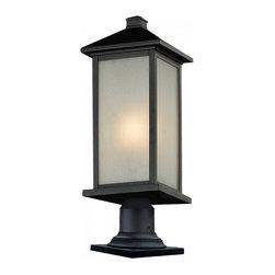 Joshua Marshal - Black Vienna 1 Light Black Post Light with White Glass Shade - Finish: Black