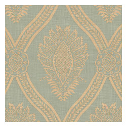 Aqua Medallion Trellis Linen Fabric - Large damask-like medallion in brown & biege linen: the perfect centerpiece for traditional design.Recover your chair. Upholster a wall. Create a framed piece of art. Sew your own home accent. Whatever your decorating project, Loom's gorgeous, designer fabrics by the yard are up to the challenge!