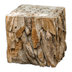 Uttermost - Teak Root Bunching Cube - Reclaimed Teak Wood, Skillfully Pieced Together Into An Artistic And Precise Sculpture With A Smoothly Sanded Top And Open Bottom, Multiplying Its Use As A Table, Seat, Or Box Planter. Bulbs Included: No