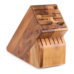 Wusthof - Wusthof 17-Slot Oak Block - The Wusthof 17 slot storage block holds 2 cooks knives, 6 steak knives and the half moon slot will hold a shear, fork, or a knife. Safely store your knives in a safe and convenient storage block.