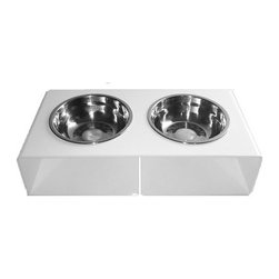 Ultra Modern Pet - AcrylicPet Feeder | White - Modern minimalist design. Available in stark white acrylic frame in a high-gloss finish. Removable stainless steel bowls, 2.5 cup capacity. Designed for cats and small to medium-sized dogs.