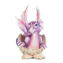 GSC - 5.5 Inch Purple Baby Dragon in Eggshell with Gem Figurine - This gorgeous 5.5 Inch Purple Baby Dragon in Eggshell with Gem Figurine has the finest details and highest quality you will find anywhere! 5.5 Inch Purple Baby Dragon in Eggshell with Gem Figurine is truly remarkable.