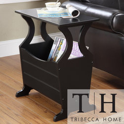 Tribecca Home - TRIBECCA HOME Astara Black Magazine Rack End Accent Table - This sleek magazine end table by Astara provides a convenient place for magazines, newspapers, and even TV remotes. They will all be at your fingertips with this black piece made from Asian rubberwood. Style and ease all in one place.