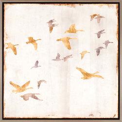 Paragon Decor - Golden Flight II Artwork - Textured Giclee in Floater Frame