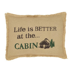 """VHC Brands - Burlap Natural Life Is Better At The Cabin Pillow - This burlap pillow measures 14""""x18"""" and is 100% cotton woven into a """"burlap"""" fabric for a natural look and feel. The front features the saying """"Life is better at the cabin"""" stenciled in hunter green & brown. The back features a 3"""" overlap with 2-buttons to conceal pillow insert. Spot clean with a damp cloth."""