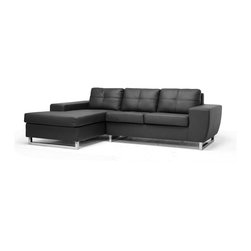 Baxton Studio - Baxton Studio Corbin Black Modern Sectional Sofa - Comfortable and contemporary are characteristics of our Corbin Sectional Sofa that you will not be able to pass up! This two-piece modern sectional sofa set is made with a wooden frame, medium-firm polyurethane foam cushions, and soft black faux leather. Steel legs with chrome finish and non-marking feet finish off the contemporary designer sofa as well as brackets in between the pieces to keep them from separating during use. The Corbin Sectional is made in China and requires only minor assembly. To clean, wipe with mild detergent and water or a vinyl cleaning product. This sofa is also available in brown (sold separately).