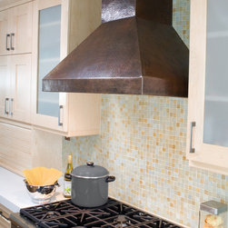 "36"" Chateau Antique Copper Range Hood by Native Trails - Talk about form and function. While the hand-hammered copper range hoods from Native Trails create a visual impact in any kitchen, rest assured that they are up to any culinary task.  Native Trails range hoods provide exceptional, professional-grade ventilation with a highly efficient baffle filtration system, and dimmer-controlled Halogen lighting for exceptional visibility. Custom designs available!"