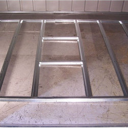 Arrow Shed - Arrow Shed Floor Frame Kit For 4 x 7 or 10 ft. Sheds Multicolor - FB47410 - Shop for Sheds & Storage - Accessories from Hayneedle.com! The Arrow Shed Floor Frame Kit For 4 x 7 or 10 ft. Sheds provides a simple and level surface for flooring. Crafted from durable hot-dipped galvanized steel this easy-to-assemble floor kit makes a simple solution for building on dirt gravel or grass. The slotted floor beams fit directly into the frame of your shed providing an ideal framework you could finish with plywood for a smooth aesthetically pleasing floor surface. This floor frame kit fits Arrow storage sheds 4 x 7 or 4 x 10 feet.About Arrow Storage ProductsEstablished in 1962 as Arrow Group Industries Arrow Storage Products is now the worldwide leader in designing manufacturing and distributing steel storage sheds that are easily assembled from a kit. Arrow Storage Products hasn't garnered its 13 million customers by resting on its laurels either. The company takes great pride in having listened to their customers over the years to develop quality products that meet people's storage needs. From athletic equipment to holiday decorations from tools to recreational vehicles Arrow Storage Products prides itself on providing quality USA-built structures that offer storage solutions. Available in a wide variety of sizes models finishes and colors - Arrow's products are constructed with electro-galvanized steel to be more affordable durable attractive and easy to assemble.