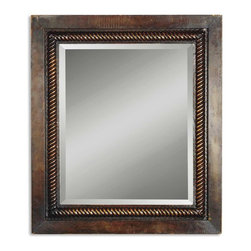 "Uttermost - Tanika Distressed Dark Brown Rectangular Mirror - This hand forged, metal frame features a rope design fillet.  The finish is rich mahogany with golden accents.  The mirror is beveled. Frame Dimensions: 28""W X 32""H X 1.5""D; Mirror Dimensions: 20.125""W X 24.062""H; Finish: Heavily Distressed Dark Brown with a Light Brown and a Tan Undercoat and a Dark Gray Glaze; Material: Iron; Beveled: Yes; Shape: Rectangular; Weight: 30 lbs; Included: Brackets, Ready to Hang Vertically or Horizontally; Shipping: Free Shipping via UPS 7 - 10 Business Days"