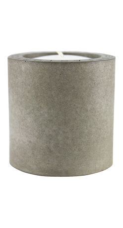 Zeitgeist Factory - Concrete Votive, Gray - Heat up your night with this cool votive holder. Handmade from recycled stone dust and finished with cork, create your own indoor fire pit with several or as a meditative retreat with one.