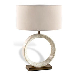 Interlude - Interlude Germain Table Lamp - Ivory - A ring of natural bone in myriad tones gives this table lamp a soothing, sculptural feel.