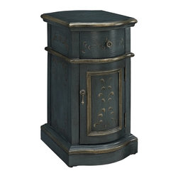 Powell - Powell Blue Chairside Storage Cabinet X-222-732 - The dark Blue Hand Painted Chairside Cabinet adds some sophistication and class to any room.  The classically shaped cabinet features hand painted floral patterns adorning the drawer and door faces and gold trim along the edge molding.  Antique Brass hard