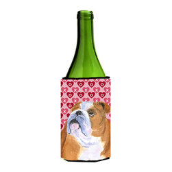 Caroline's Treasures - Bulldog English Hearts Love Valentine's Day Wine Bottle Koozie Hugger - Bulldog English Hearts Love Valentine's Day Wine Bottle Koozie Hugger SS4491LITERK Fits 750 ml. wine or other beverage bottles. Fits 24 oz. cans or pint bottles. Great collapsible koozie for large cans of beer, Energy Drinks or large Iced Tea beverages. Great to keep track of your beverage and add a bit of flair to a gathering. Wash the hugger in your washing machine. Design will not come off.
