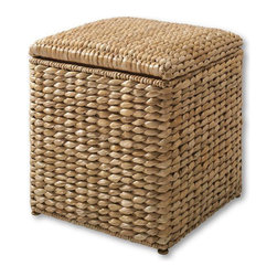 Seaforth Natural Ottoman - This ottoman adds coastal seagrass texture, can serve as an extra seat, and provides storage.