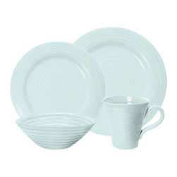 Portmeirion - Sophie Conran Celadon 4 pc. Place Setting Multicolor - 427631 - Shop for Sets from Hayneedle.com! Create the stylish spread you've always pictured with the Sophie Conran Celadon 4 pc. Place Setting. This lovely color-coordinated set is simple yet stylish. Constructed of durable porcelain each versatile piece is safe for the freezer oven microwave and dishwasher making the menu possibilities endless.About PortmeirionStrikingly beautiful eminently practical refreshingly affordable. These are the enduring values bequeathed to Portmeirion by its legendary co-founder and designer Susan Williams-Ellis. Her father architect Sir Clough Williams-Ellis was the designer of Portmeirion the North Wales village whose fanciful architecture has drawn tourists and artists from around the world (including the creators of the classic 1960s TV show The Prisoner). Inspired by her fine arts training and creation of ceramic gifts for the village's gift shop Susan Williams-Ellis (along with her husband Euan Cooper-Willis) founded Portmeirion Pottery in 1960. After 50+ years of innovation the Portmeirion Group is not only an icon of British design but also a testament to the extraordinarily creative life of Susan Williams-Ellis.The style of Portmeirion dinnerware and serveware is marked by a passion for both pottery manufacturing and trend-setting design. Beautiful tactile nature-inspired patterns are a defining quality of Portmeirion housewares from its world-renowned botanical designs modeled on antiquarian books to the breezy natural colors of its porcelain and earthenware. Today the Portmeirion Group's design legacy continues to evolve through iconic brands such as Spode the Pomona Classics collection and the award-winning collaboration of Sophie Conran for Portmeirion. Sophie Conran for Portmeirion:Successful collaborations have provided design inspiration throughout Sophie Conran's life. Her father designer Sir Terence Conran and mother food writer Caroline Conran have b