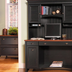 Bush - Computer Desk Set w Hutch & File in Antique B - Never worry about storage or getting the job done with this three piece computer desk set.  The computer desk and hutch are finished in antique black and feature a lot of storage spaces for all of your books, CDs, and personal items.  The included file cabinet matches the antique black color scheme and can hold a range of file sizes from letter to legal. * WC53918 Computer Desk, WC53919 Hutch for WC53918 & WC53984 Lateral File. A wonderful addition to a kitchen, den or home office. Antique Black wi Hansen Cherry finish. . Concealed vertical CPU storage in desk . Drop-down front reveals keybo. Computer Desk:47.401 in. W x 20.764 in. D x 30.724 in. H. Hutch for Computer Desk:48.130 in. W x 12.280 in. D x 38.22 in. H. Lateral File:31.890 in. W x 20.669 in. D x 30.724 in. H