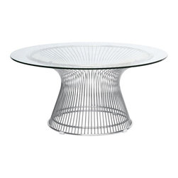 "Lemoderno - Fine Mod Imports  Wire Side Table, Glass - This classic table will surely make quite a statement as the focal point of your dining room. The Table Designed in 1966, is truly a unique piece. Considered by many to be a design icon of the modern era, the Wire Side Table's harmonious forms are created by welding curved vertical steel wire rods to circular frames, producing a moir� effect. Decorative, gentle and graceful, the Wire Side Table is truly one of a kind. An elegant latecomer to the mid-century modern movement Steel wire base Glass Top  Dimensions: Base Size: top 27.6""W x bottom 13.8""W x 17.7""H"