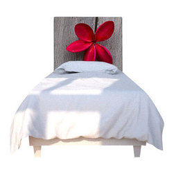 """NOYO - Red Flower Wood Headboard, Twin - Say """"so long"""" to your ho-hum headboard and """"hello!"""" to a whole new concept in bedroom decor: A cedar frame with a machine-washable slipcover you can change at a whim. Tonight, a lovely red bloom; next week, whatever you dare to dream of."""