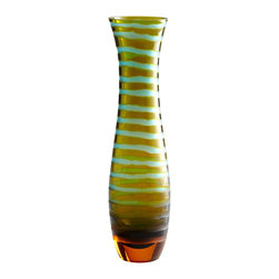 Cyan Design - Cyan Design Large Blue/Orange Stripe Vases X-57000 - Organic stripe detailing has been paired with a faded blend of colors, creating a unique feel to this stylish Cyan Design vase. The striping accentuates the gentle curves and subtle tapering, with a flared lip and deep base for contrast. Cyan Blue and Orange coloring completes the look.