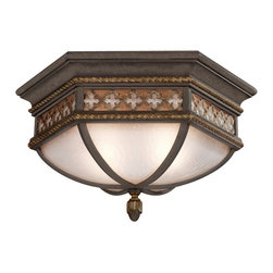 Fine Art Lamps - Chateau Outdoor Outdoor Flush Mount, 403082ST - If your home is your castle, this is the beacon you'll want for its exterior. An impressive fixture of solid brass, it features a variegated rich umber patina, intricate trim and antiqued glass.