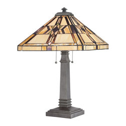 Quoizel - Quoizel QZ-TF961TVB Finton Tiffany Table Lamp - This is a collection of classic mission, styled with warm color tones of amber, brown and buttery yellow giving this collection its inviting appeal.  The vintage bronze finish authenticates the historic design.