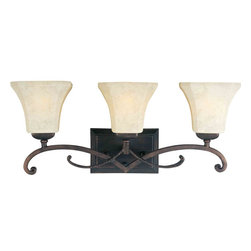 Maxim Lighting - Maxim Lighting 21073FLRB Oak Harbor Rustic Burnished 3 Light Vanity - 3 Bulbs, Bulb Type: 100 Watt Incandescent