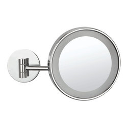 Nameek's - 3x Single Face Lighted Makeup Mirror - This wall mounted makeup mirror has a single, 3x magnifying face. It also includes an LED light with an on/off switch on the base. This contemporary, Italian design makeup mirror is made from brass and is perfect for the modern style bathroom.