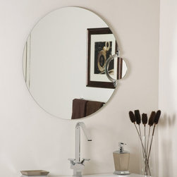 Decor Wonderland - Frameless Wall Mirror with Magnification - 27.56 diam. in. - SSM100 - Shop for Bathroom Mirrors from Hayneedle.com! This unique and contemporary frameless Wall Mirror with Magnification combines beauty with practicality. The side mirror gives you the benefit of 2X magnification making this mirror ideal for your bathroom hallway or bathroom. Well-made this mirror is constructed of strong 3/16 glass and metal and has a durable double coated silver backing with seamed edges. Arriving ready to hang the hardware is included for your convenience.Decor Wonderland of USDecor Wonderland US sells a variety of living room and bedroom furniture mirrors lamps home office necessities and decorative accessories. Decor Wonderland strives to add variety to their selection so that every home is beautifully and perfectly decorated to suit their customer's unique tastes.