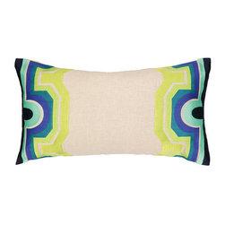 "Peking Handicraft Inc. - Trina Turk Arcata Embroidered OB Pillow Blue/Green DF 26"" x14"" - ""14X26"""" 100% RAMIE"""