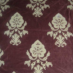 Crewel Fabric World by MDS - Crewel Fabric Konark Turkish Coffee Cotton Velvet- Yardage - Fabric Type: Cotton Velvet