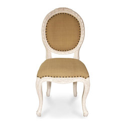 Isabella Side Chair - White Washed - A beautiful wrapped-ribbon motif crowned in laurels frames the upholstery of the Isabella Side Chair's cameo back, while carved wild roses ornament a serpentine apron for a naturalistic summer charm. Standing on cabriole legs with delicately-designed feet, this traditional wooden armchair is spritely yet restrained with an upholstered square seat. Use it to create a flawless traditional dining room or finish a polished sitting room.