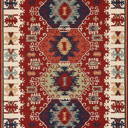 """Loloi Rugs - Loloi Rugs Taos Collection - Red, 3'-6"""" x 5'-6"""" - The Taos Collection tells the story of updated tribal kilims in an unexpected hand-hooked-polyester construction from China. While paying homage to popular nomadic kilim patterns, Taos infuses an updated palette and textured hooked surface for a hip, youthful take on this classic category."""