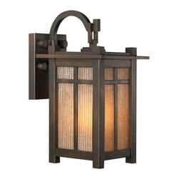 Fine Art Lamps - Capistrano Outdoor Wall Mount, 402181ST - Evoking the design and craftsmanship of the Arts and Crafts era, this handsome outdoor fixture is finished in a sophisticated bronze patina. Ribbed, champagne-colored glass adds a welcome touch of warmth and emits a flattering light.