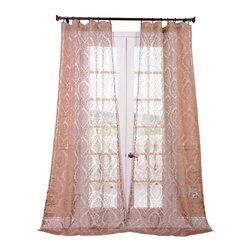 """Exclusive Fabrics & Furnishings, LLC - Loretta Taupe Patterned Sheer Curtain - 100% Polyester. 3"""" Pole Pocket. Imported. Dry Clean Only."""