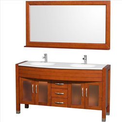 """Wyndham Collection - Wyndham Daytona Double Vanity - The Daytona 60"""" Double Bathroom Vanity Set - a modern classic with elegant, contemporary lines. This beautiful centerpiece, made in solid, eco-friendly zero emissions wood, comes complete with mirror and choice of counter for any decor. From fully extending drawer glides and soft-close doors to the 3/4"""" glass or marble counter, quality comes first, like all Wyndham Collection products. Doors are made with fully framed glass inserts, and back paneling is standard."""