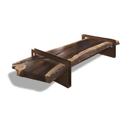 Jacaranda Coffee Table - Coffee Table top made from a rare slab of reclaimed live edge Jacaranda wood and U-shaped metal base made of steel in powder coated weathered metal finish. Options in claro or black walnut also available. Glass top optional.