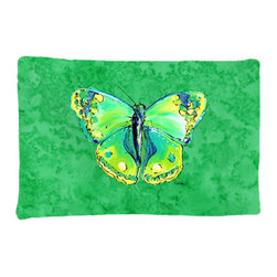 Caroline's Treasures - Butterfly Green on Green Fabric Standard Pillowcase Moisture Wicking Material - Standard White on back with artwork on the front of the pillowcase, 20.5 in w x 30 in. Nice jersy knit Moisture wicking material that wicks the moisture away from the head like a sports fabric (similar to Nike or Under Armour), breathable performance fabric makes for a nice sleeping experience and shows quality. Wash cold and dry medium. Fabric even gets softer as you wash it. No ironing required.